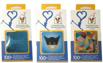 Adhesivos con tres motivos diferentes promocionando a la Fundación Ronald McDonald Colombia.