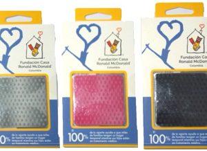 Otra version de adhesivos con tres motivos diferentes promocionando a la Fundación Ronald McDonald Colombia.